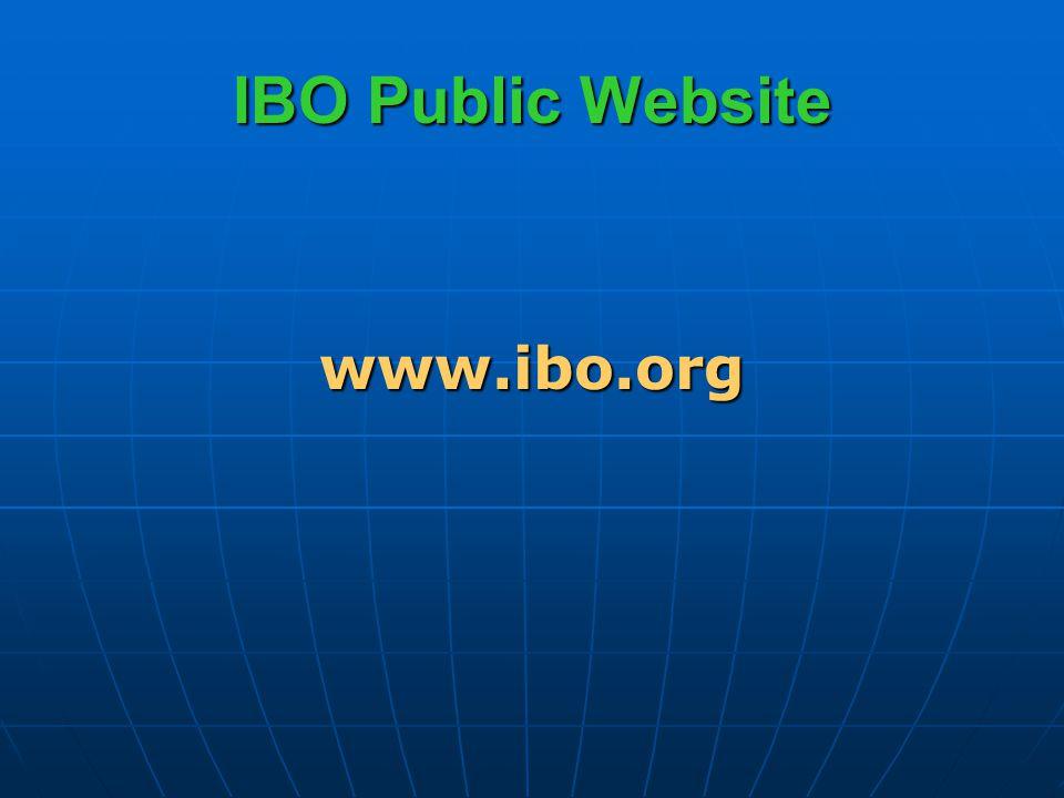 IBO Public Website www.ibo.org