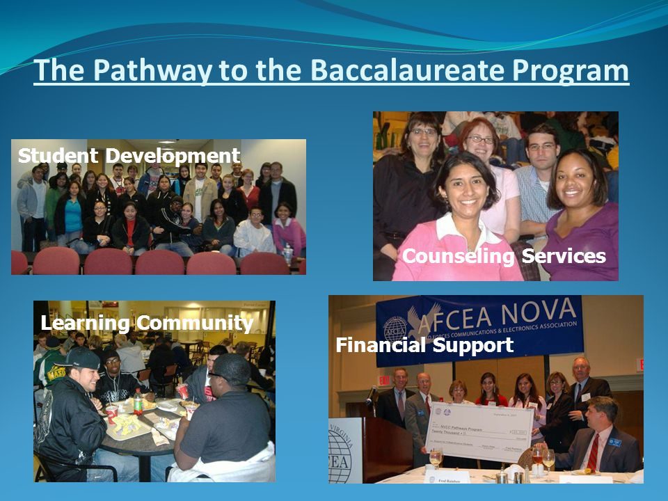 The Pathway to the Baccalaureate Program Student Development Learning Community Financial Support Counseling Services