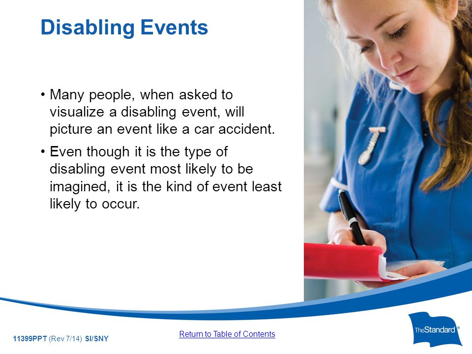 © 2010 Standard Insurance Company 11399PPT (Rev 7/14) SI/SNY Many people, when asked to visualize a disabling event, will picture an event like a car accident.