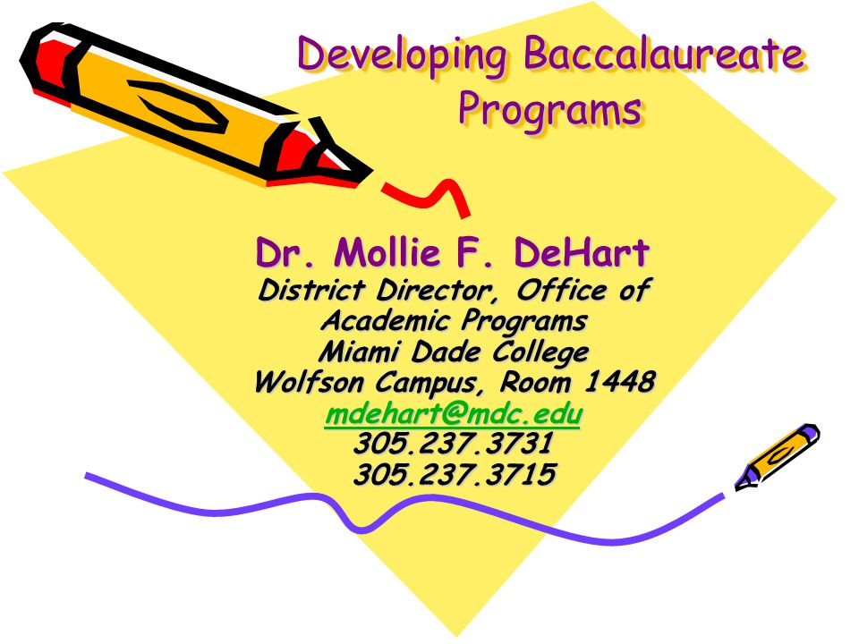 Developing Baccalaureate Programs Dr. Mollie F.