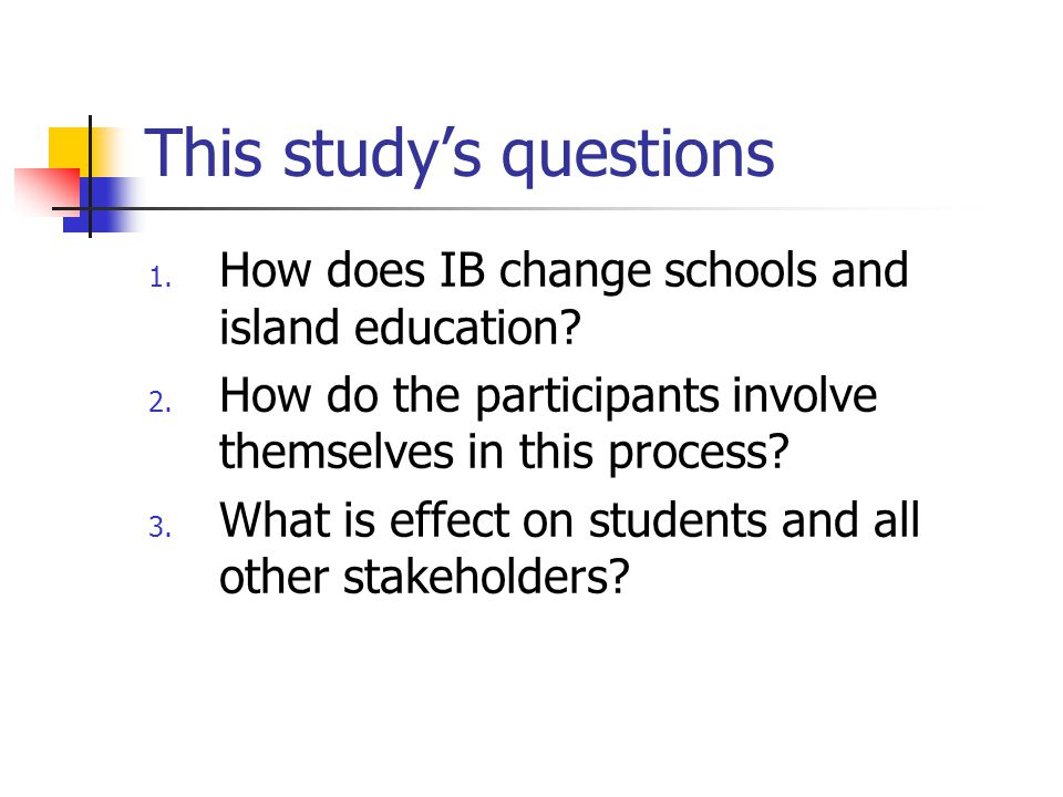 This study's questions 1. How does IB change schools and island education.