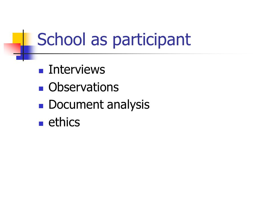 School as participant Interviews Observations Document analysis ethics