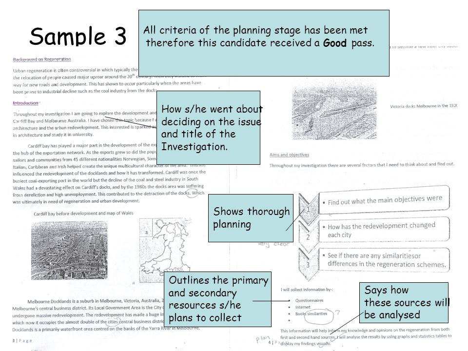 Sample 3 How s/he went about deciding on the issue and title of the Investigation.