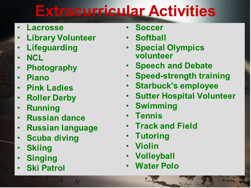 Extracurricular Activities Lacrosse Library Volunteer Lifeguarding NCL Photography Piano Pink Ladies Roller Derby Running Russian dance Russian language Scuba diving Skiing Singing Ski Patrol Soccer Softball Special Olympics volunteer Speech and Debate Speed-strength training Starbuck s employee Sutter Hospital Volunteer Swimming Tennis Track and Field Tutoring Violin Volleyball Water Polo