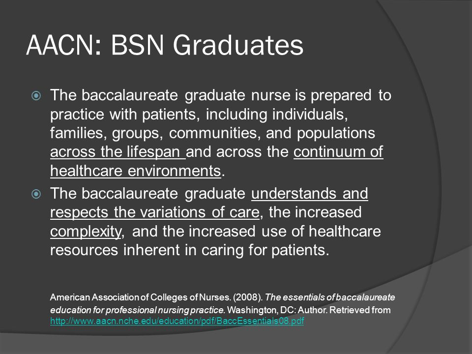 AACN: BSN Graduates  The baccalaureate graduate nurse is prepared to practice with patients, including individuals, families, groups, communities, an