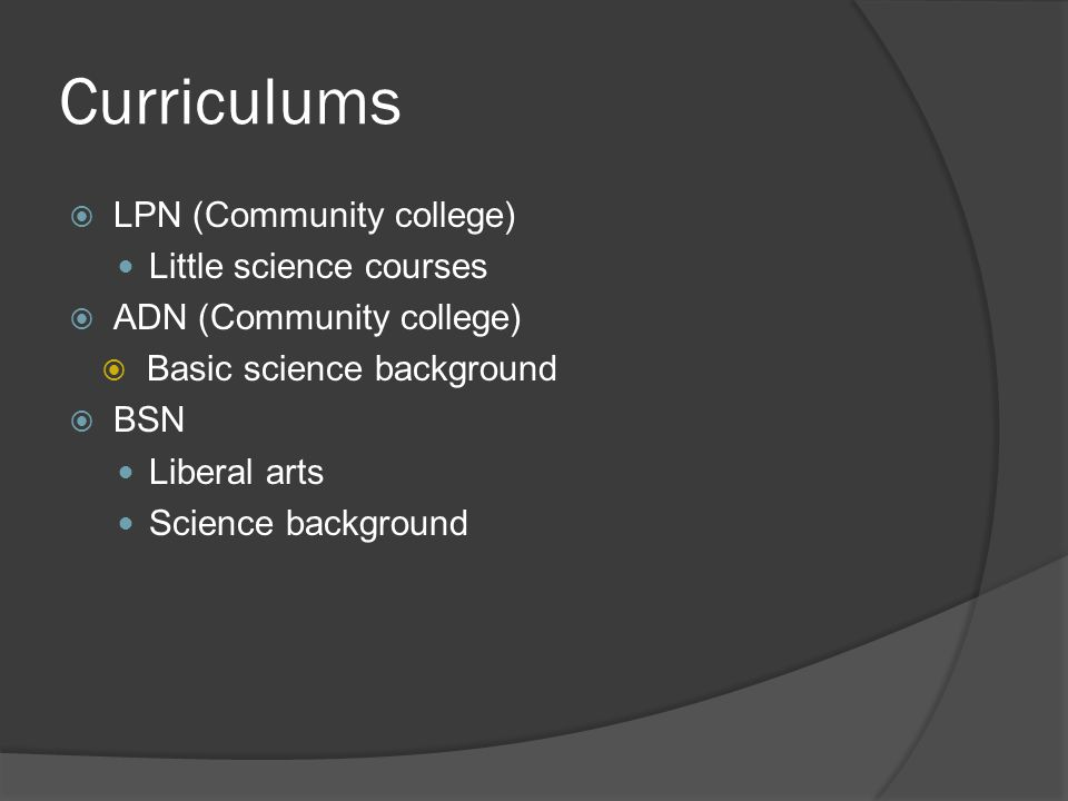 Curriculums  LPN (Community college) Little science courses  ADN (Community college)  Basic science background  BSN Liberal arts Science backgroun