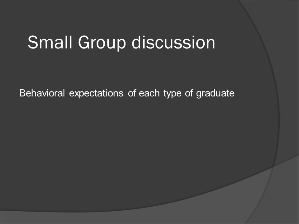Small Group discussion Behavioral expectations of each type of graduate