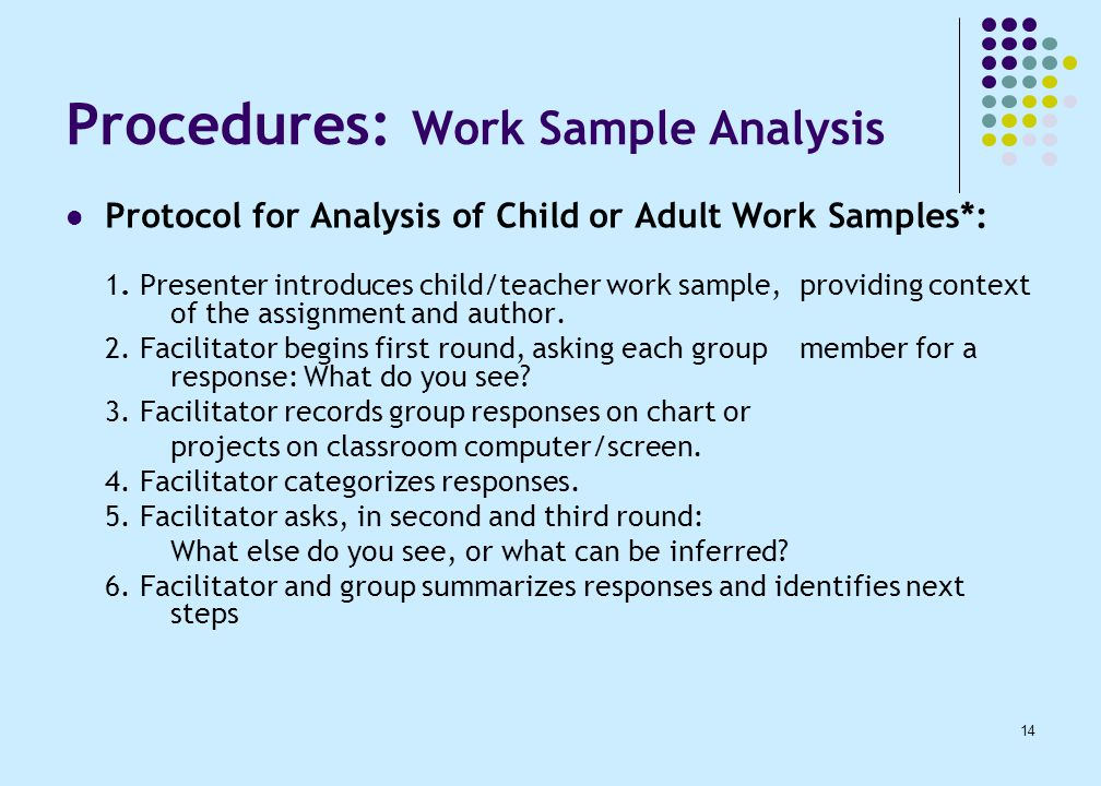 14 Procedures: Work Sample Analysis Protocol for Analysis of Child or Adult Work Samples*: 1.