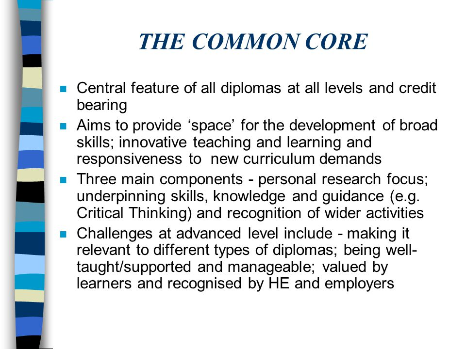 THE COMMON CORE n Central feature of all diplomas at all levels and credit bearing n Aims to provide 'space' for the development of broad skills; inno