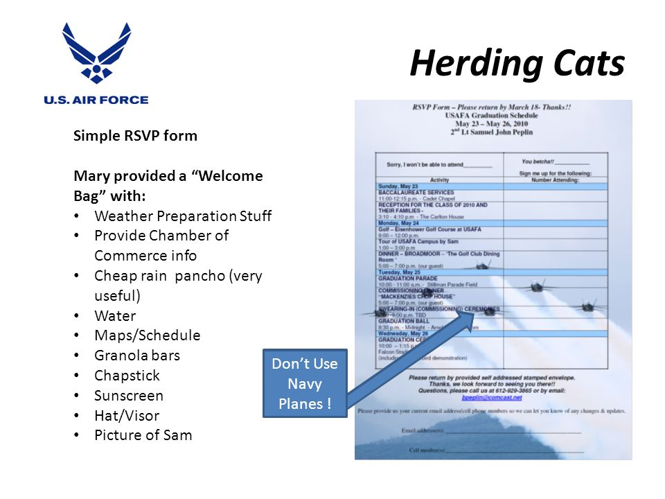 Herding Cats Simple RSVP form Mary provided a Welcome Bag with: Weather Preparation Stuff Provide Chamber of Commerce info Cheap rain pancho (very useful) Water Maps/Schedule Granola bars Chapstick Sunscreen Hat/Visor Picture of Sam Don't Use Navy Planes !