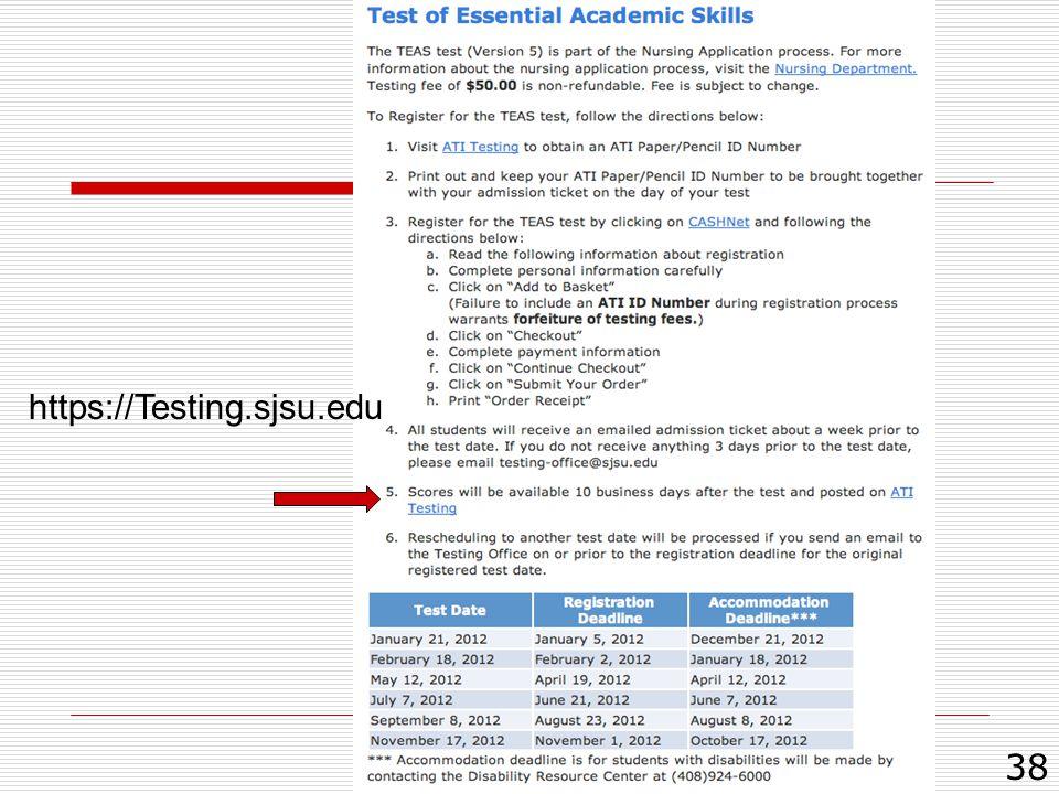 38 https://Testing.sjsu.edu