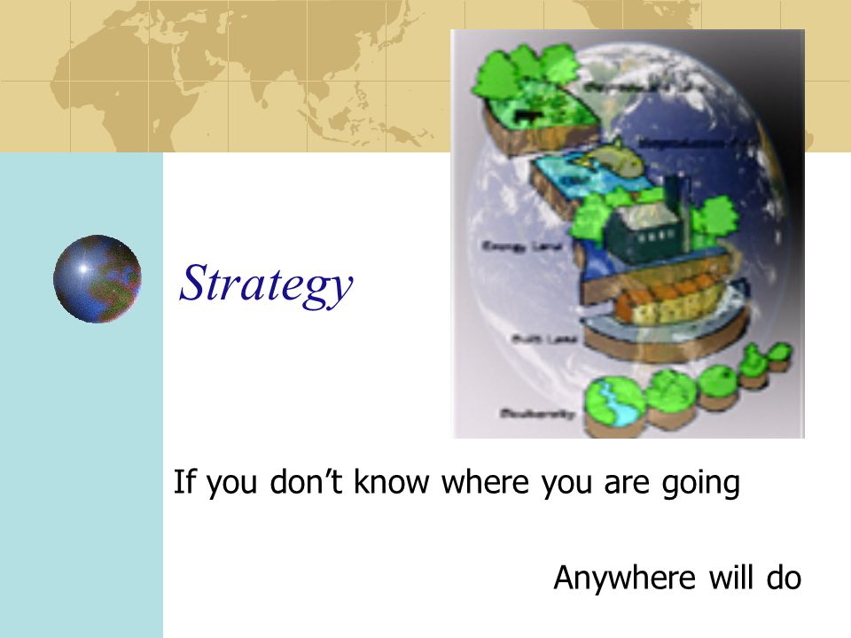 Strategy If you don't know where you are going Anywhere will do