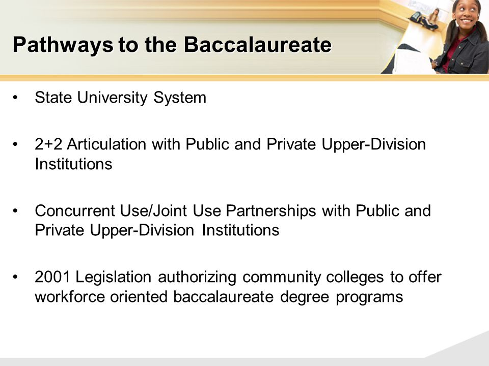 Pathways to the Baccalaureate State University System 2+2 Articulation with Public and Private Upper-Division Institutions Concurrent Use/Joint Use Partnerships with Public and Private Upper-Division Institutions 2001 Legislation authorizing community colleges to offer workforce oriented baccalaureate degree programs