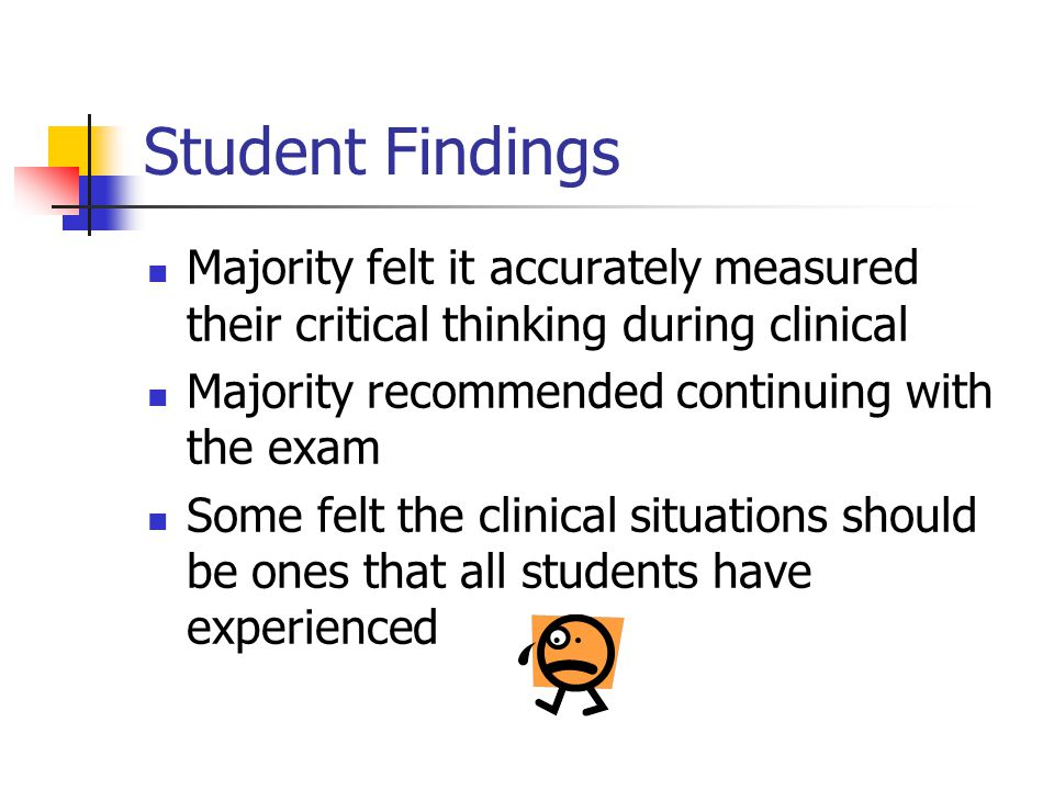 Faculty Findings Found areas where students as a group were not meeting course outcomes Phone confidentiality Prioritizing Environment more controlled and consistent across students Examination is a summative evaluation in a relatively nonthreatening situation and provides objective data