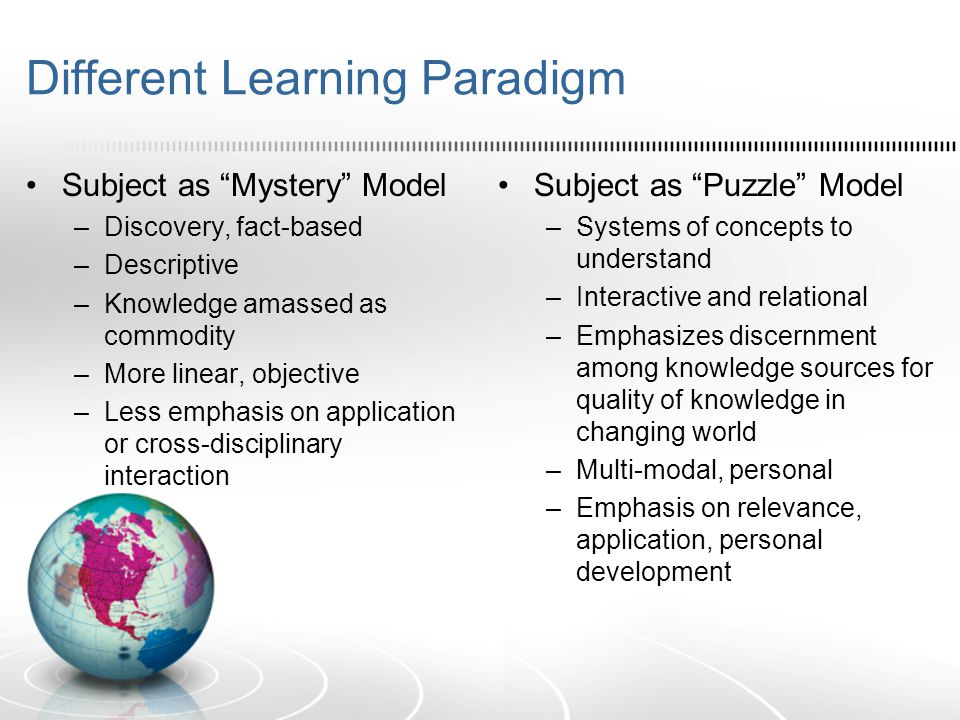 Different Learning Paradigm Subject as Mystery Model –Discovery, fact-based –Descriptive –Knowledge amassed as commodity –More linear, objective –Less emphasis on application or cross-disciplinary interaction Subject as Puzzle Model –Systems of concepts to understand –Interactive and relational –Emphasizes discernment among knowledge sources for quality of knowledge in changing world –Multi-modal, personal –Emphasis on relevance, application, personal development