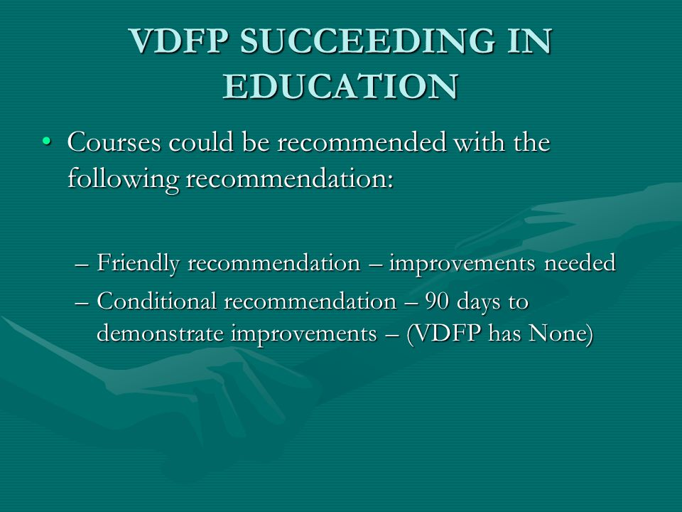 VDFP SUCCEEDING IN EDUCATION COURSE TITLE:COURSE TITLE: –Airport Firefighter (1003-10) CREDIT RECOMMENDATION: In the Vocational Certificate or lower division Baccalaureate/associate degree category, 2 semester hours in Fire Science (12/05)