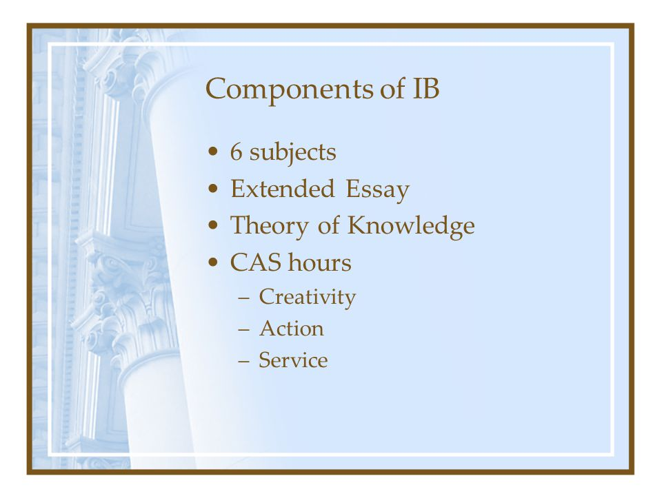 Components of IB 6 subjects Extended Essay Theory of Knowledge CAS hours –Creativity –Action –Service