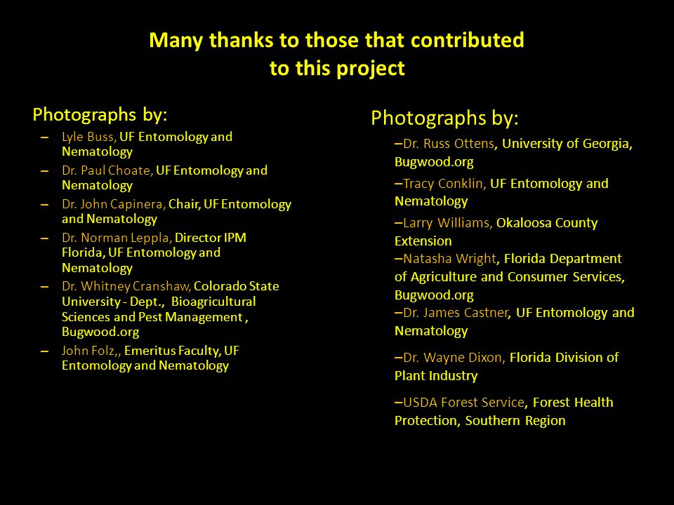 Many thanks to those that contributed to this project Photographs by: – Lyle Buss, UF Entomology and Nematology – Dr.