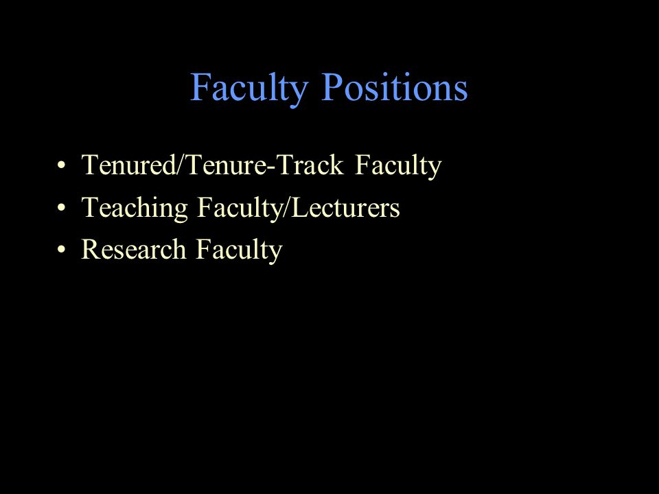 Faculty Positions Tenured/Tenure-Track Faculty Teaching Faculty/Lecturers Research Faculty