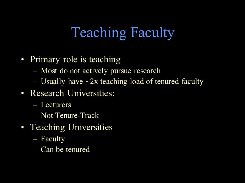 Teaching Faculty Primary role is teaching –Most do not actively pursue research –Usually have ~2x teaching load of tenured faculty Research Universities: –Lecturers –Not Tenure-Track Teaching Universities –Faculty –Can be tenured