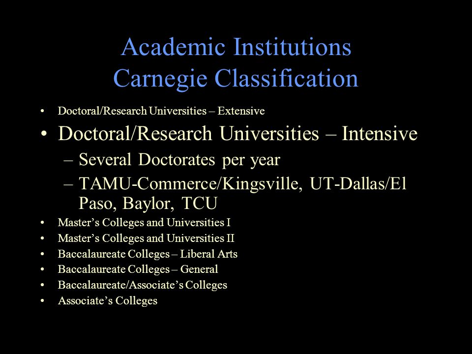 Academic Institutions Carnegie Classification Doctoral/Research Universities – Extensive Doctoral/Research Universities – Intensive –Several Doctorates per year –TAMU-Commerce/Kingsville, UT-Dallas/El Paso, Baylor, TCU Master's Colleges and Universities I Master's Colleges and Universities II Baccalaureate Colleges – Liberal Arts Baccalaureate Colleges – General Baccalaureate/Associate's Colleges Associate's Colleges