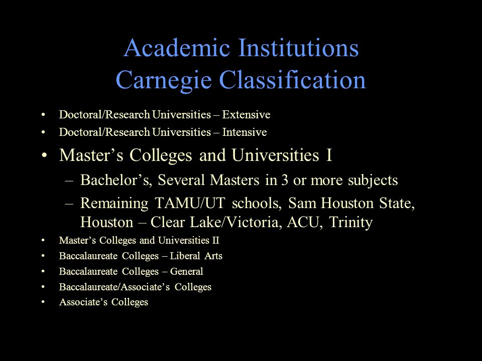 Academic Institutions Carnegie Classification Doctoral/Research Universities – Extensive Doctoral/Research Universities – Intensive Master's Colleges and Universities I –Bachelor's, Several Masters in 3 or more subjects –Remaining TAMU/UT schools, Sam Houston State, Houston – Clear Lake/Victoria, ACU, Trinity Master's Colleges and Universities II Baccalaureate Colleges – Liberal Arts Baccalaureate Colleges – General Baccalaureate/Associate's Colleges Associate's Colleges