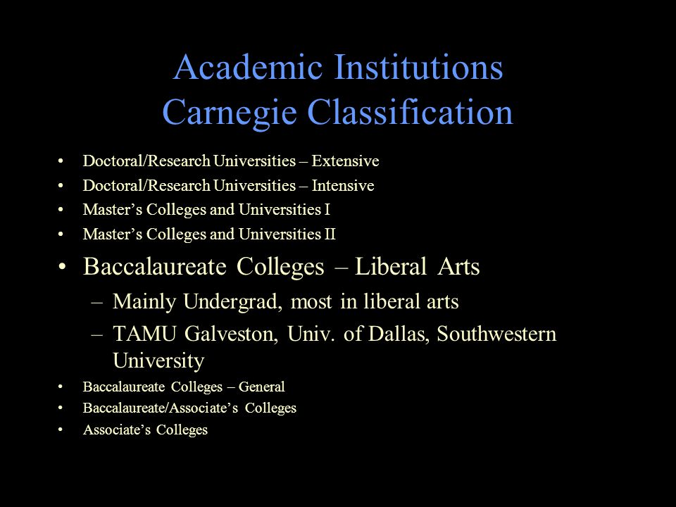 Academic Institutions Carnegie Classification Doctoral/Research Universities – Extensive Doctoral/Research Universities – Intensive Master's Colleges and Universities I Master's Colleges and Universities II Baccalaureate Colleges – Liberal Arts –Mainly Undergrad, most in liberal arts –TAMU Galveston, Univ.