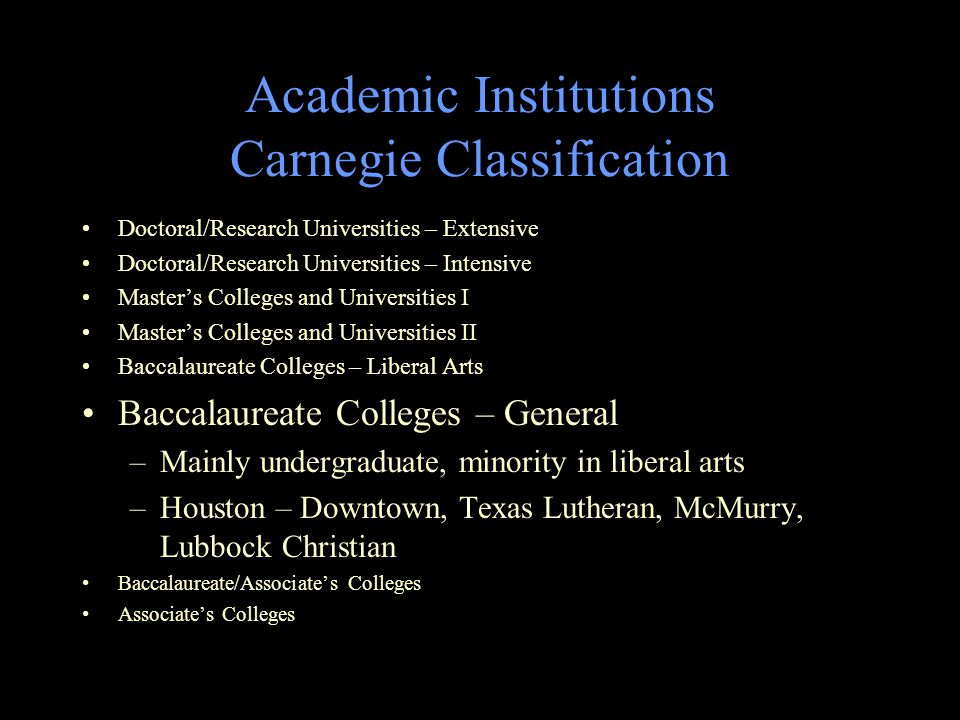 Academic Institutions Carnegie Classification Doctoral/Research Universities – Extensive Doctoral/Research Universities – Intensive Master's Colleges and Universities I Master's Colleges and Universities II Baccalaureate Colleges – Liberal Arts Baccalaureate Colleges – General Baccalaureate/Associate's Colleges –10-50% Batchelor's, rest Associate's –None in Texas Associate's Colleges
