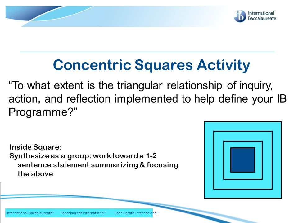 © International Baccalaureate Organization 2007 International Baccalaureate® Baccalauréat International® Bachillerato Internacional® Inside Square: Synthesize as a group: work toward a 1-2 sentence statement summarizing & focusing the above Concentric Squares Activity To what extent is the triangular relationship of inquiry, action, and reflection implemented to help define your IB Programme?