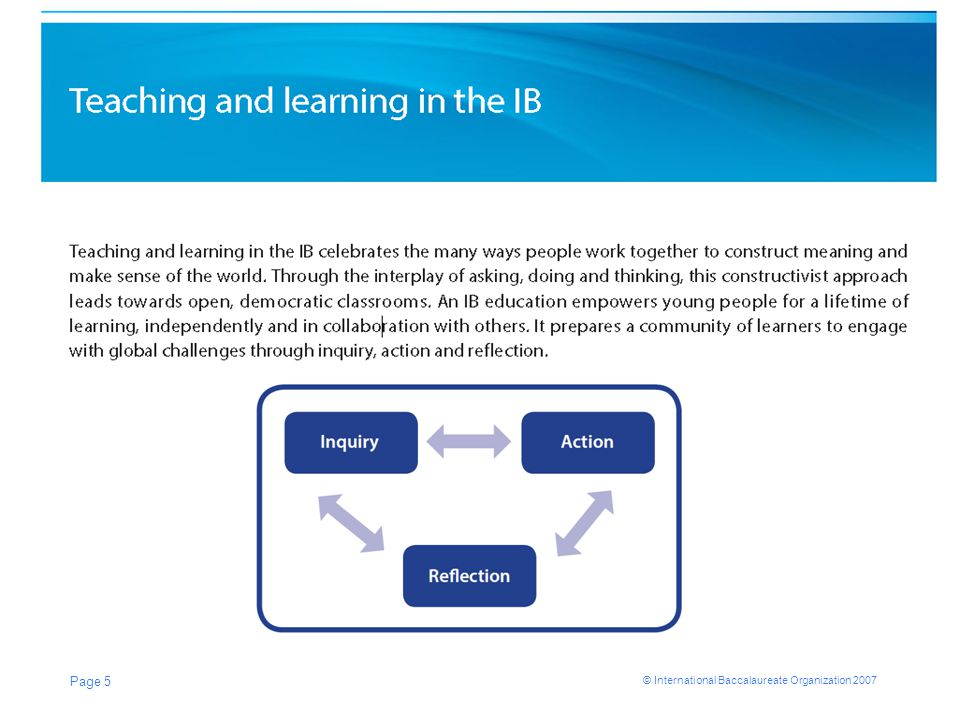 © International Baccalaureate Organization 2007 What is an IB education? Page 5