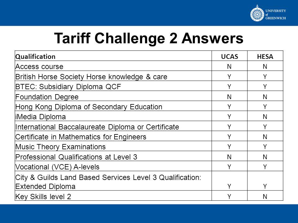 Tariff Challenge 2 Answers QualificationUCASHESA Access course NN British Horse Society Horse knowledge & care YY BTEC: Subsidiary Diploma QCF YY Foun
