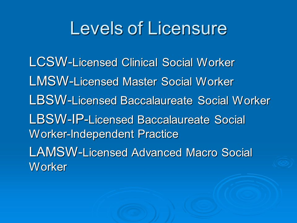 Levels of Licensure LCSW- Licensed Clinical Social Worker LMSW- Licensed Master Social Worker LBSW- Licensed Baccalaureate Social Worker LBSW-IP- Licensed Baccalaureate Social Worker-Independent Practice LAMSW- Licensed Advanced Macro Social Worker