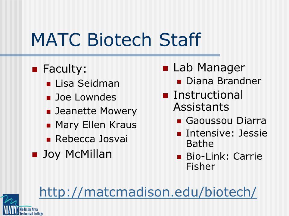 MATC Biotech Staff Faculty: Lisa Seidman Joe Lowndes Jeanette Mowery Mary Ellen Kraus Rebecca Josvai Joy McMillan Lab Manager Diana Brandner Instructi