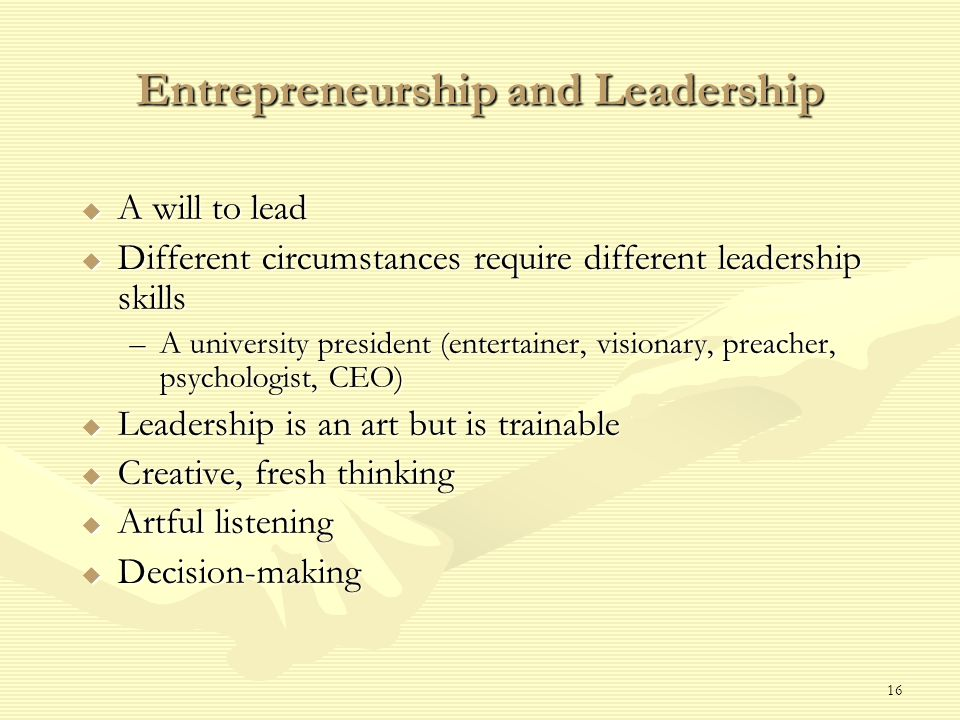 16 Entrepreneurship and Leadership  A will to lead  Different circumstances require different leadership skills –A university president (entertainer, visionary, preacher, psychologist, CEO)  Leadership is an art but is trainable  Creative, fresh thinking  Artful listening  Decision-making