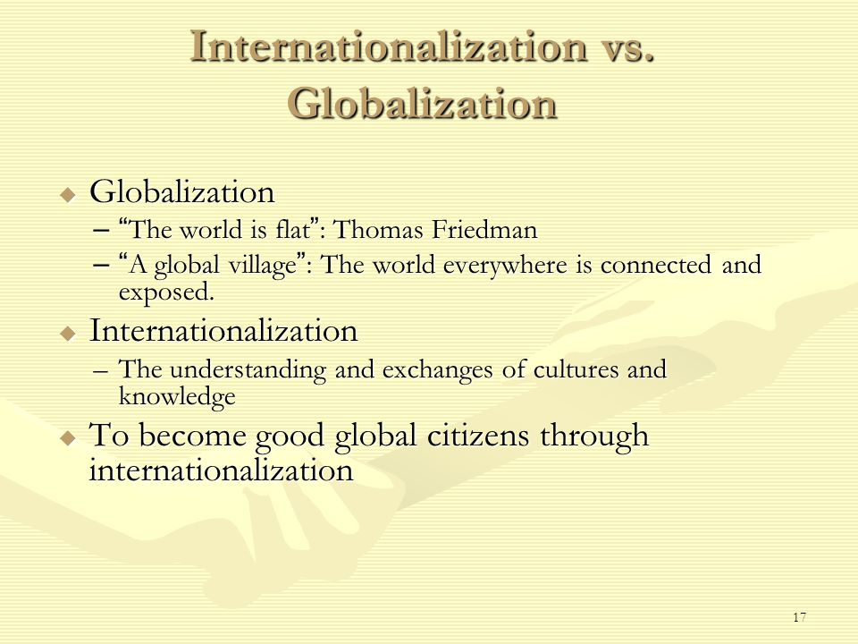 17 Internationalization vs.