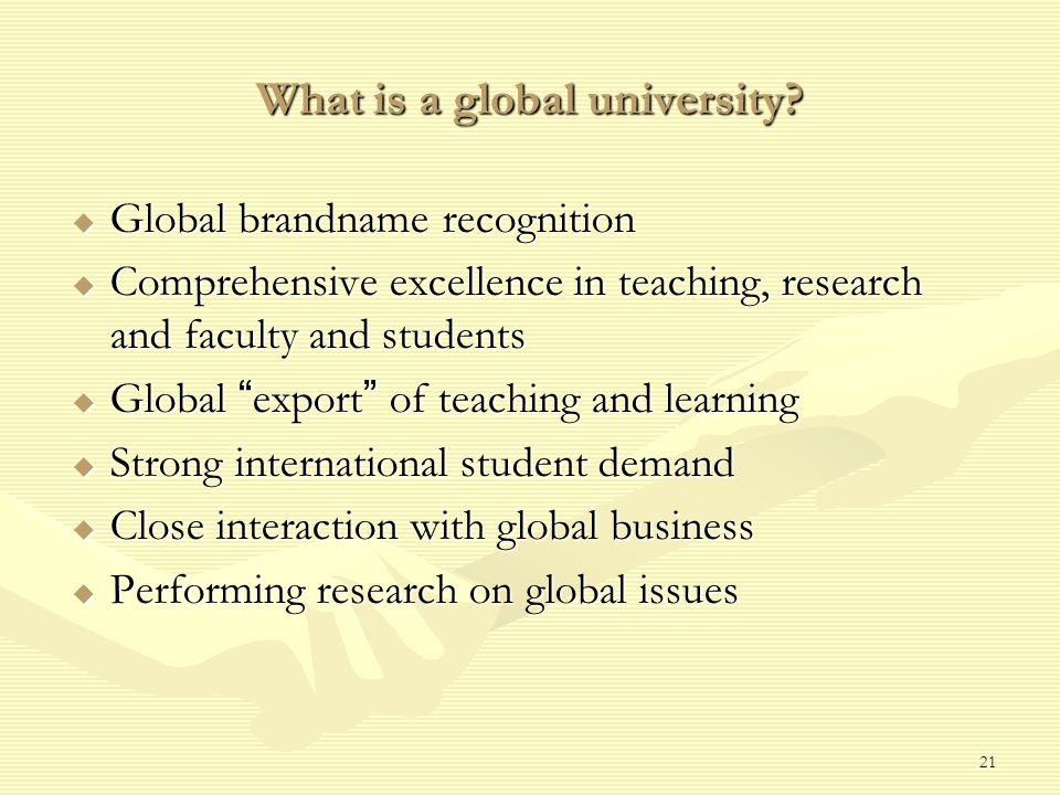 21 What is a global university.