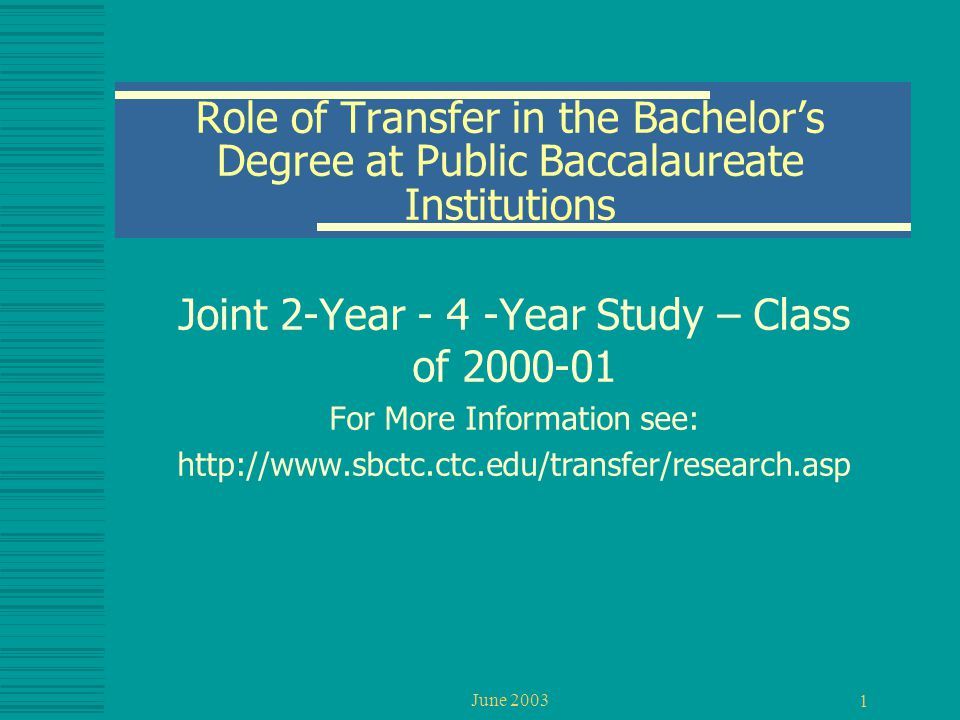June 2003 1 Role of Transfer in the Bachelor's Degree at Public Baccalaureate Institutions Joint 2-Year - 4 -Year Study – Class of 2000-01 For More In