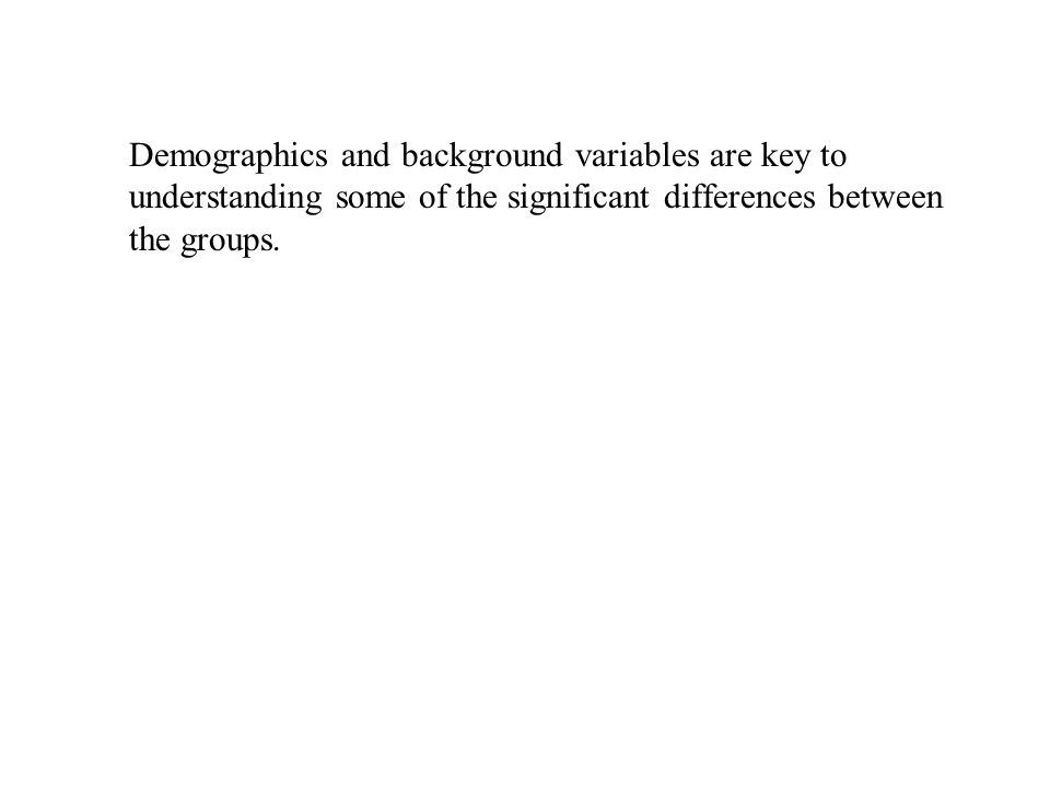 Demographics and background variables are key to understanding some of the significant differences between the groups.