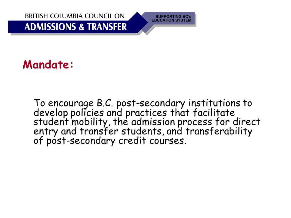 Mandate: To encourage B.C.