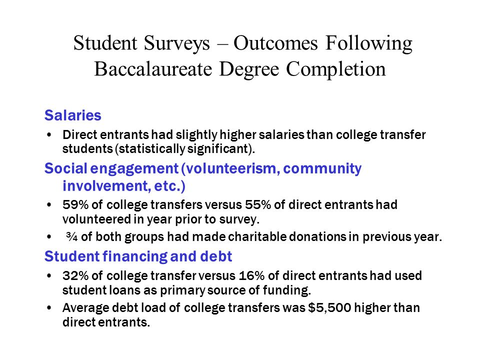 Student Surveys – Outcomes Following Baccalaureate Degree Completion Salaries Direct entrants had slightly higher salaries than college transfer students (statistically significant).