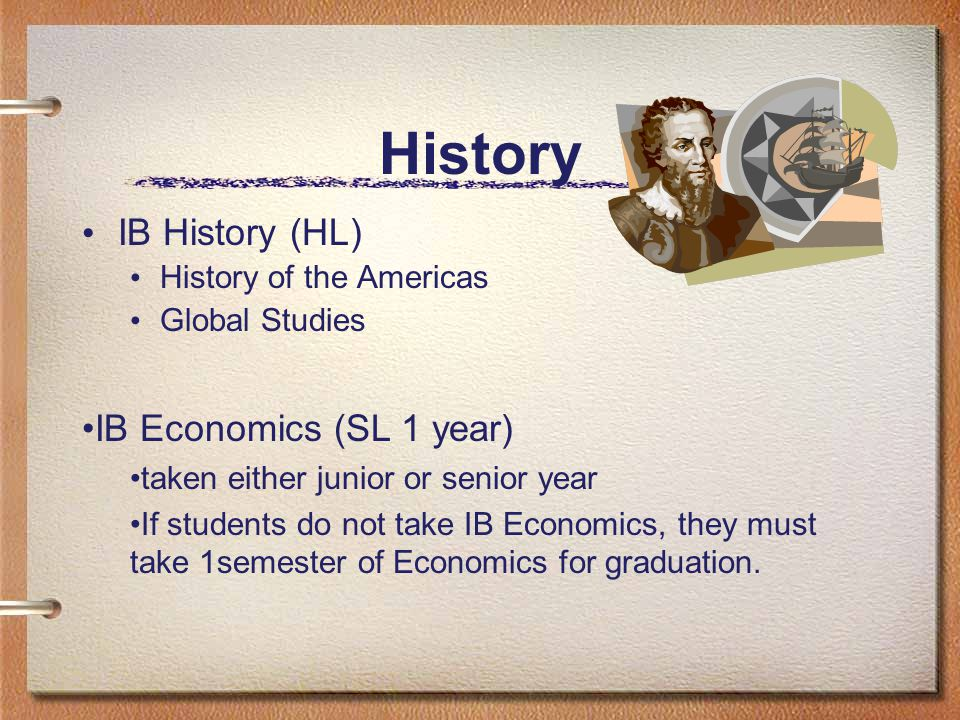 History IB History (HL) History of the Americas Global Studies IB Economics (SL 1 year) taken either junior or senior year If students do not take IB Economics, they must take 1semester of Economics for graduation.