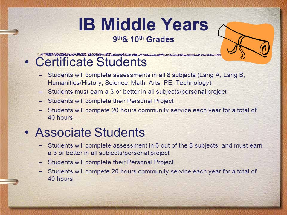 IB Middle Years 9 th & 10 th Grades Certificate Students –Students will complete assessments in all 8 subjects (Lang A, Lang B, Humanities/History, Science, Math, Arts, PE, Technology) –Students must earn a 3 or better in all subjects/personal project –Students will complete their Personal Project –Students will compete 20 hours community service each year for a total of 40 hours Associate Students –Students will complete assessment in 6 out of the 8 subjects and must earn a 3 or better in all subjects/personal project –Students will complete their Personal Project –Students will compete 20 hours community service each year for a total of 40 hours