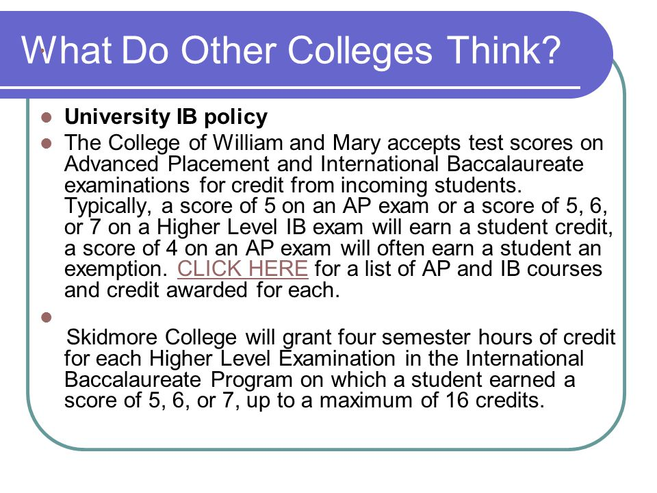 What Do Other Colleges Think.