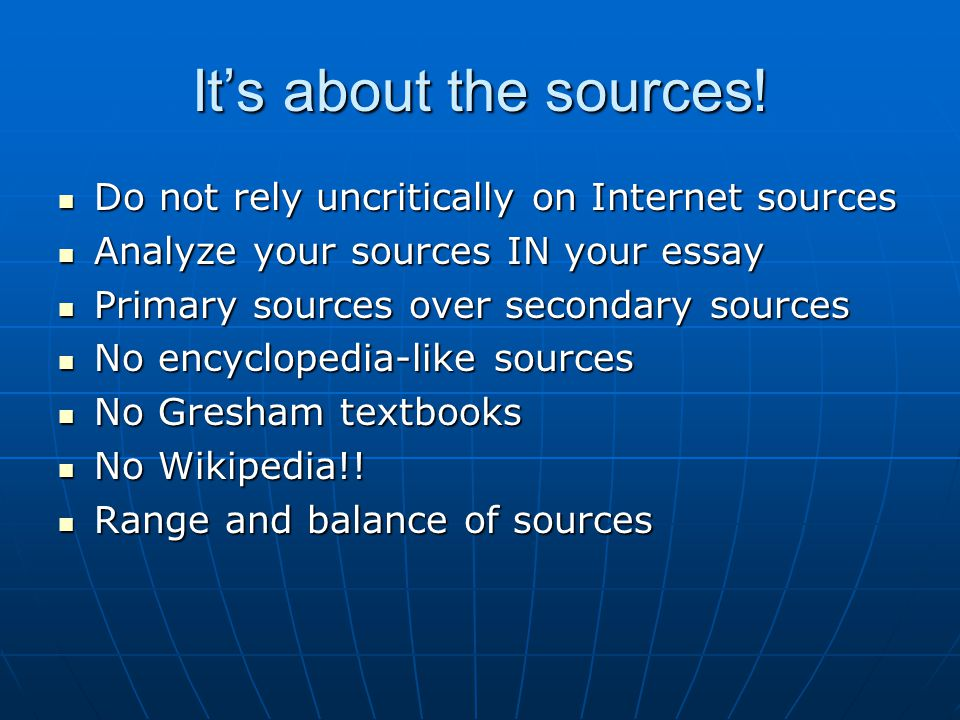 It's about the sources.
