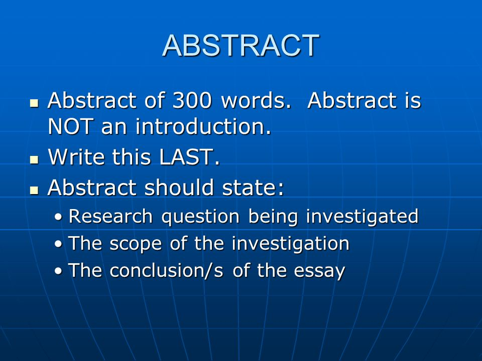 ABSTRACT Abstract of 300 words.Abstract is NOT an introduction.