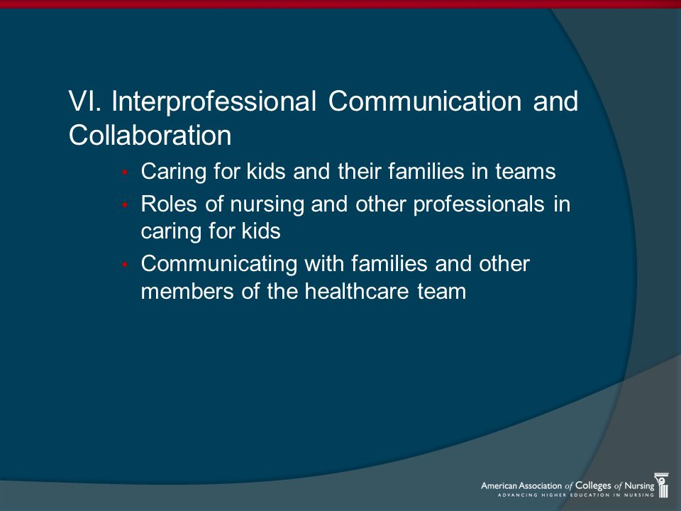 VI. Interprofessional Communication and Collaboration Caring for kids and their families in teams Roles of nursing and other professionals in caring f