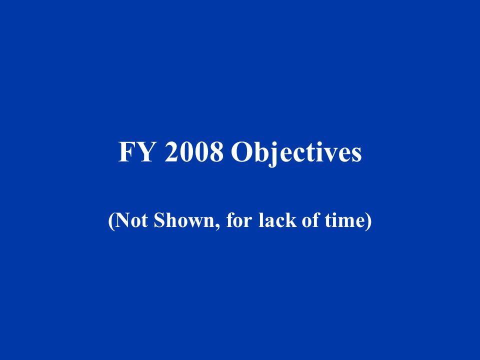 FY 2008 Objectives (Not Shown, for lack of time)