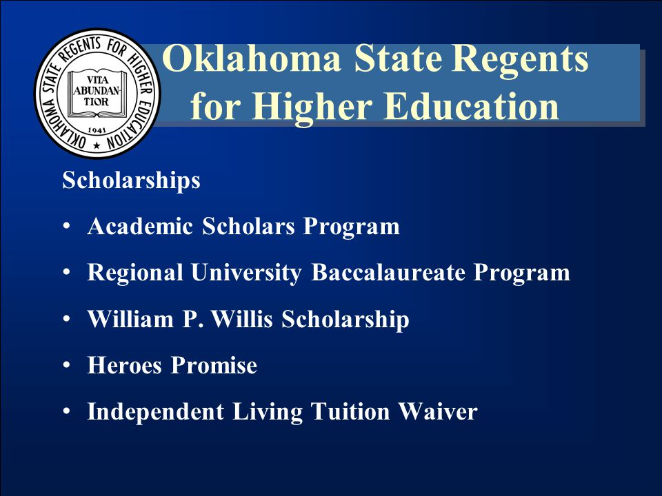 Scholarships Academic Scholars Program Regional University Baccalaureate Program William P.