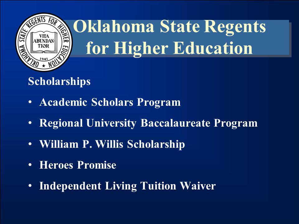 Academic Scholars Program (ASP) Oklahoma State Regents for Higher Education