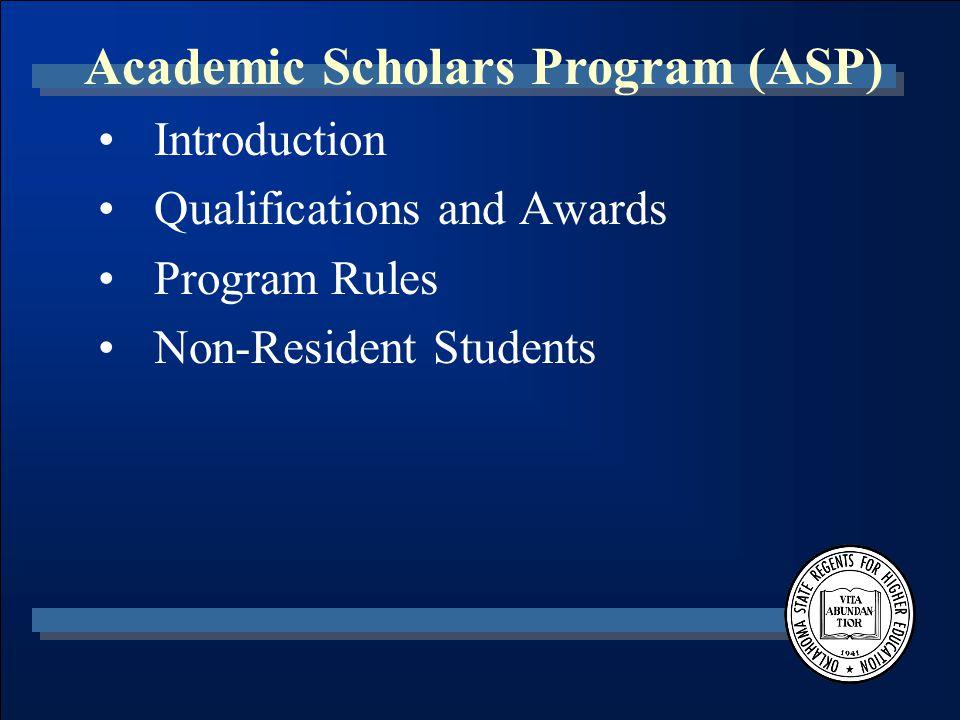 Regional University Baccalaureate Scholarship Program (RUBS) Oklahoma State Regents for Higher Education